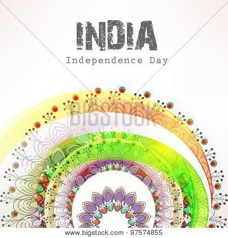 Creative national flag color floral design for Indian Independence Day celebration.