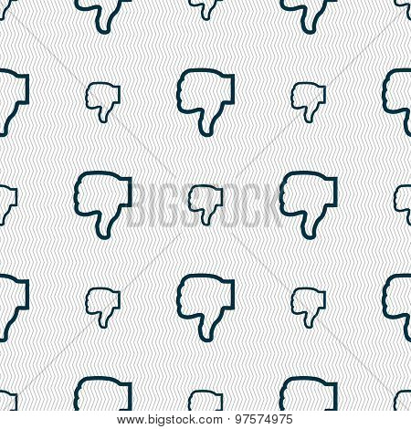 Dislike Icon Sign. Seamless Pattern With Geometric Texture. Vector