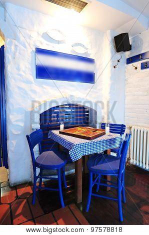 Greek Restaurant Interior.
