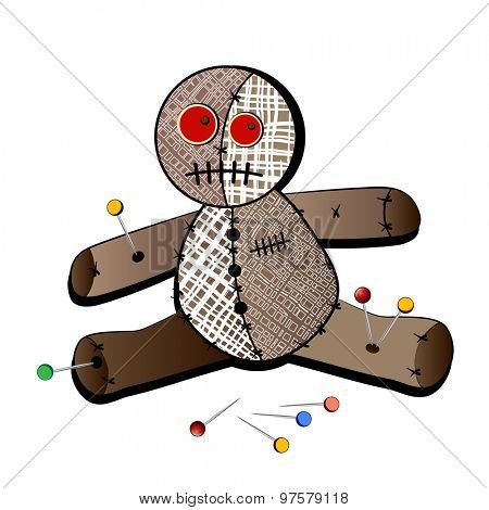 Isolated voodoo doll with stickpins