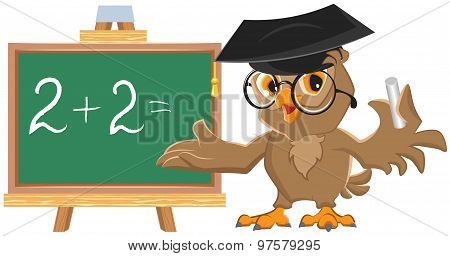 Owl teacher leads math lesson