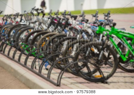 Group of bikes in parking