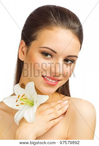 Young girl with flower isolated