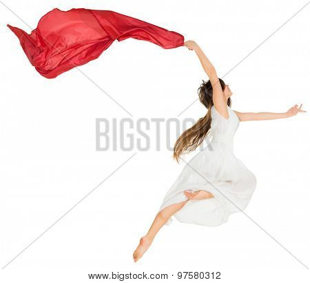 Modern dancer girl isolated on white