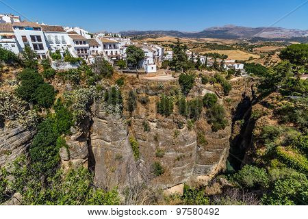 Andalusia landscape, countryside road and rock in Ronda, Spain