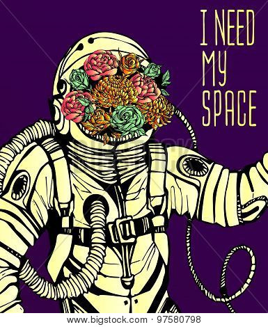 Space concept with astronaut