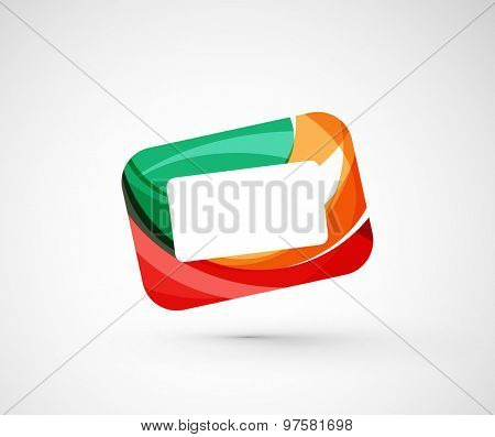 Abstract geometric company logo frame, screen.  illustration of universal shape concept made of various wave overlapping elements