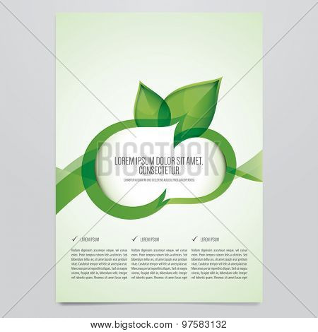 Vector eco brochure, flyer template. Modern green leaf, environment design.