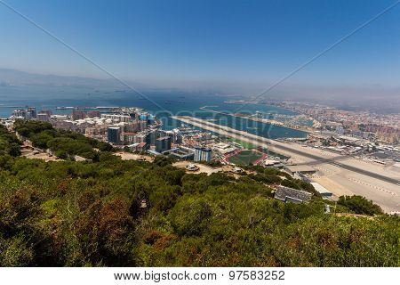 View of the sea/ocean and city of Gibraltar from the top of the rock