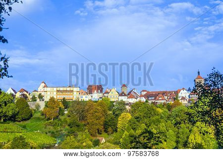 Rothenburg Ob Der Tauber, Old Famous City From Medieval Times