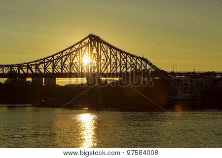 Brisbane Story Bridge Sunrise Rays
