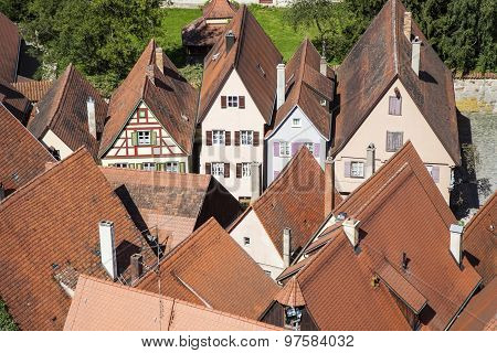 Roofs Of Old Medieval City Of Dinkelsbuehl