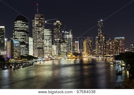Brisbane City Riverside and Harbour by Night