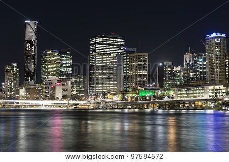 Brisbane City nightscape, Meriton and North Quay Ferry