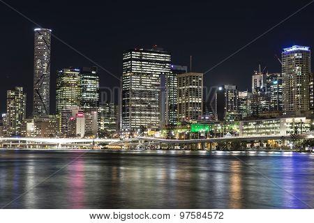 Brisbane City nightscape, Meriton and North Quay Ferry