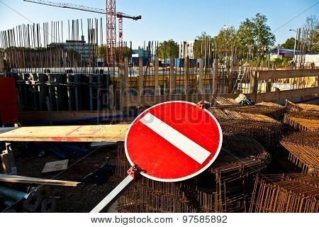 Sign One-end-street In Front Of The Crane At The Building Site