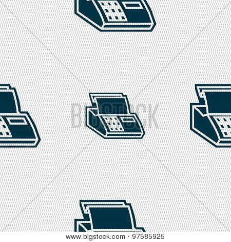 Cash Register Machine Icon Sign. Seamless Pattern With Geometric Texture. Vector