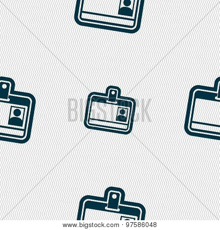 Id Card Icon Sign. Seamless Pattern With Geometric Texture. Vector