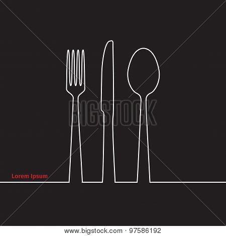 Advertising Card With Fork, Spoon And Knife