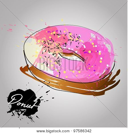 Donut With Pink Glazed.vector