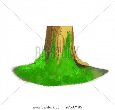 mossy tree trunk illustration