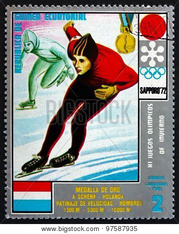 Postage Stamp Equatorial Guinea 1972 Speed Skating