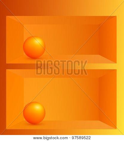 3D Effect Shelf Orange Ball Background