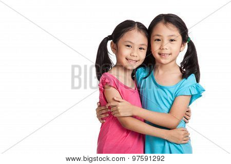 Asian Twins Girls  Smile Hug Each Other