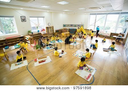 Children study and play in a modern kidergarten school in Hanoi, Vietnam