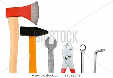 Ax, Hammer, Screwdriver And Wrenches Isolated On White