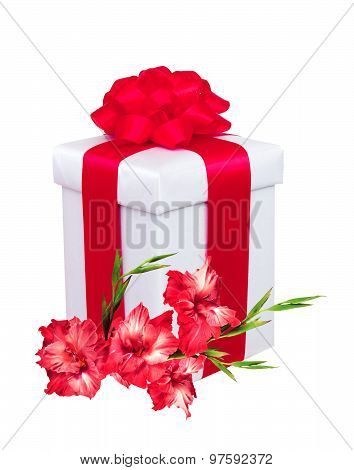 Present Box With Red Bow And Red Gladiolus Flowers Over White