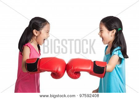 Happy Asian Twins Girls  With Boxing Gloves