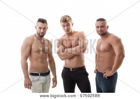 Shot of flirting male models posing at camera