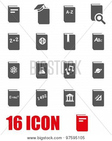 Vector Grey Schoolbook Icon Set