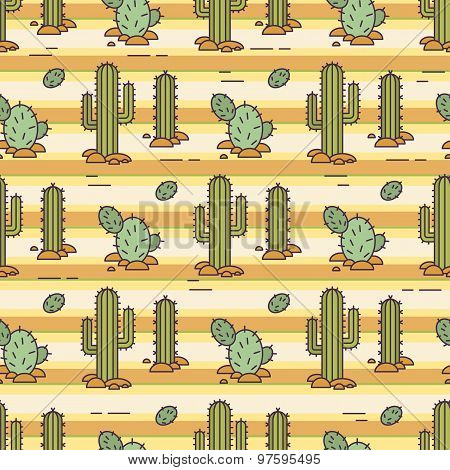 Vector pattern of cacti. Linear illustration. Mexican vector background