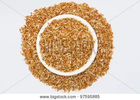 Mixed coarse rice on white