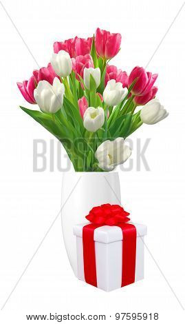 Bouquet Of Pink And White Tulips In Vase And Gift Box Isolated On White