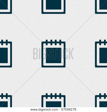 Notepad Icon Sign. Seamless Pattern With Geometric Texture. Vector