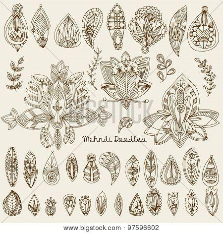 Mehndi Tattoo Doodles Set 1- Abstract Floral Illustration Design Elements On White Background