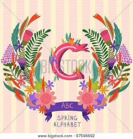 The Letter C. Floral Hand Drawn Monogram Made Of Flowers And Leafs In Vector. Spring Floral Abc Elem
