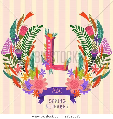 The Letter L. Floral Hand Drawn Monogram Made Of Flowers And Leafs In Vector. Spring Floral Abc Elem