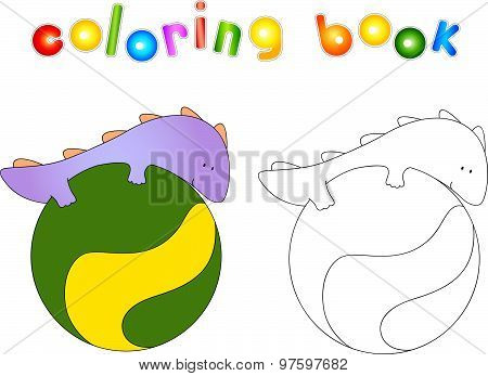 Crummy Bellied Dragon Doing Exercises On The Fitness Ball. Coloring Book About Healthy Lifestyle For