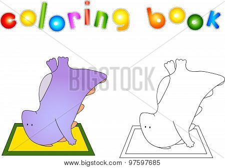 Crummy Bellied Dragon Doing Exercises Upside Down On The Mat. Coloring Book About Healthy Lifestyle
