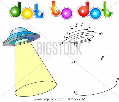 Ufo With Light Beam. Flying Saucer. Connect Dots And Get Image. Educational Game For Kids