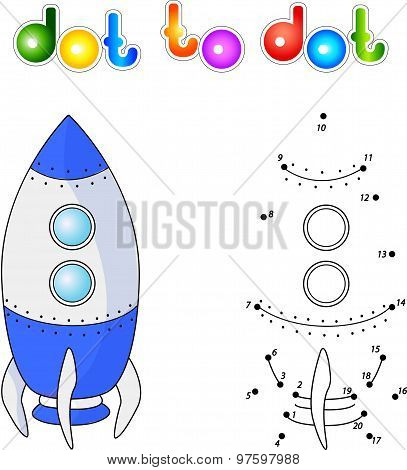 Spacecraft Or Aerospace Vehicle. Connect Dots And Get Image. Educational Game For Kids