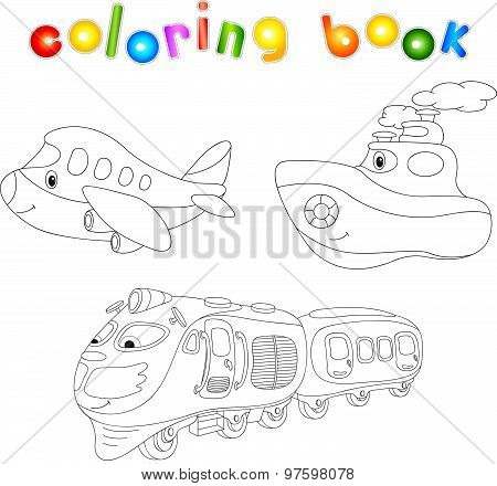 Set Of Plane, Ship And Train. Coloring Book For Children About Transport