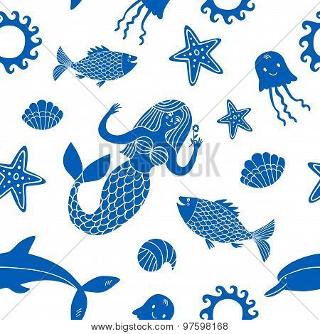 Sea And Mermaid Seamless Background