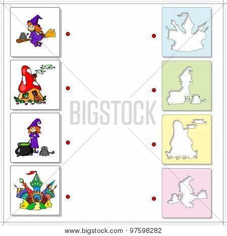 Witch With Cauldron And Cat, Witch On A Broomstick, Fairy Mushroom House And Multicolored Castle. Ed