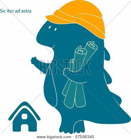 Lovely Friendly Dragon-builder With Drawings And In Helmet. Isolated Silhouette Of Of Dinosaur. Styl