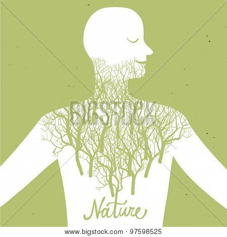 Human And Nature Ecological Illustration